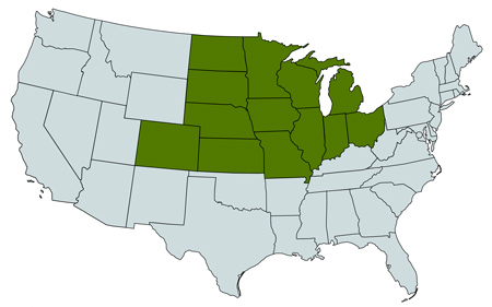 Map of midwest regions from Herbicide Recommendation Sheets includes Illinois, Wisconsin, Iowa, Minnesota, North Dakota, South Dakota, Indiana, Ohio, Michigan, Kansas, Nebraska, Colorado and Missouri