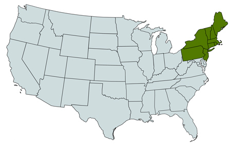 Map of northeast regions from Herbicide Recommendation Sheets includes New England, New York, New Jersey and Pennsylvania